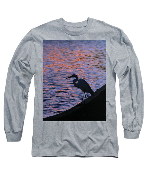 Great White Egret Silhouette  Long Sleeve T-Shirt