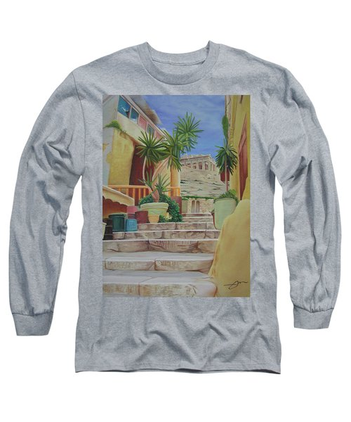 Long Sleeve T-Shirt featuring the painting Greece by Joshua Morton
