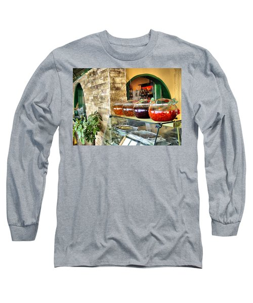 Long Sleeve T-Shirt featuring the photograph Greek Isle Restaurant Still Life by Mitchell R Grosky