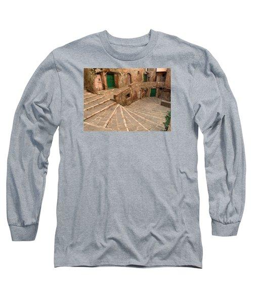 Long Sleeve T-Shirt featuring the photograph Green Doors by Alan Socolik