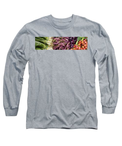 Green Onions, Chinese Eggplant, Red Long Sleeve T-Shirt