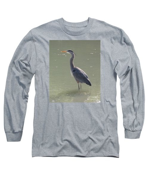 Grey Bird Long Sleeve T-Shirt by Oksana Semenchenko