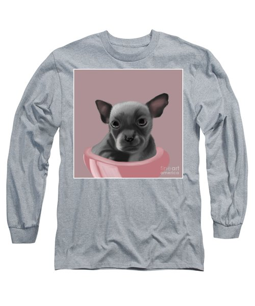 Grey Chihuahua In The Pink Long Sleeve T-Shirt