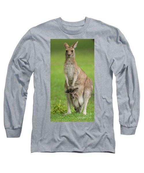 Grey Kangaroo And Joey  Long Sleeve T-Shirt