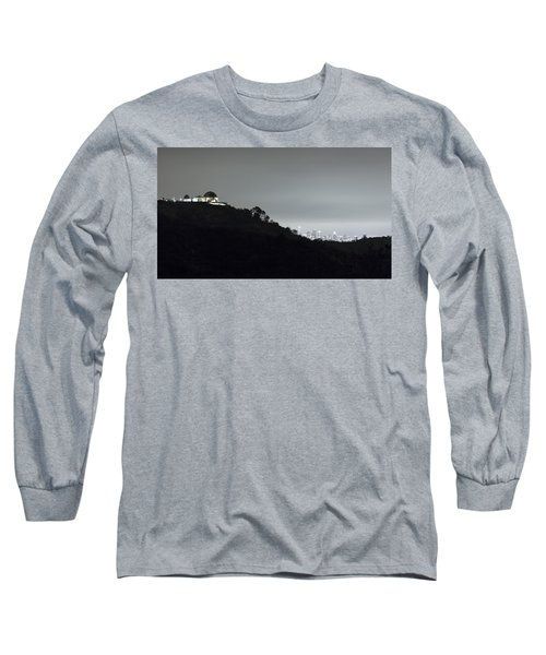 Griffith Park Observatory And Los Angeles Skyline At Night Long Sleeve T-Shirt by Belinda Greb