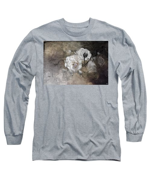 Grunge White Rose Long Sleeve T-Shirt
