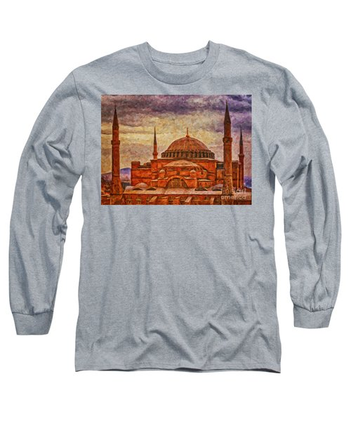 Hagia Sophia Digital Painting Long Sleeve T-Shirt by Antony McAulay