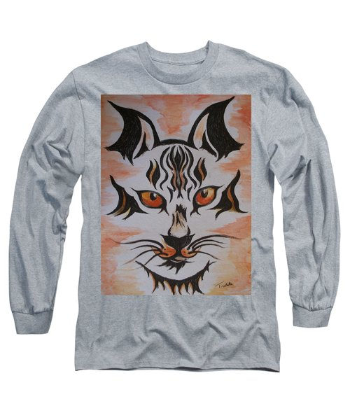 Long Sleeve T-Shirt featuring the painting Halloween Wild Cat by Teresa White