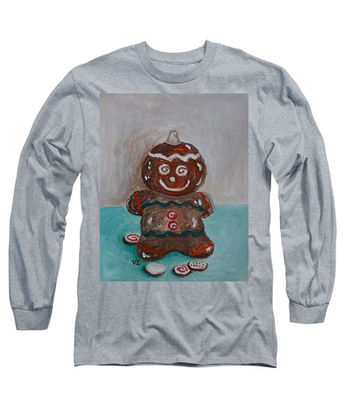 Happy Gingerbread Man Long Sleeve T-Shirt by Victoria Lakes