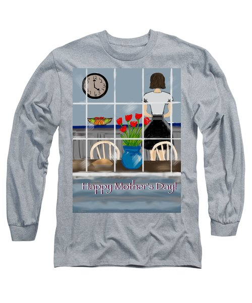 Long Sleeve T-Shirt featuring the digital art Happy Homemaker by Christine Fournier