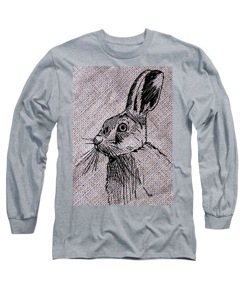Hare On Burlap Long Sleeve T-Shirt