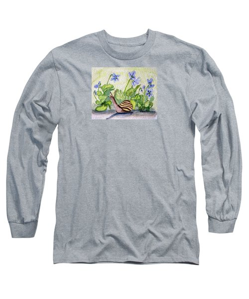 Long Sleeve T-Shirt featuring the painting Harold In The Violets by Angela Davies