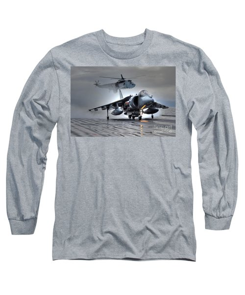 Harrier Gr9 Takes Off From Hms Ark Royal For The Very Last Time Long Sleeve T-Shirt by Paul Fearn