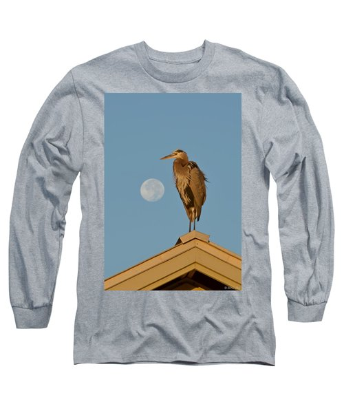 Long Sleeve T-Shirt featuring the photograph Harry The Heron Ponders A Trip To The Full Moon by Jeff at JSJ Photography