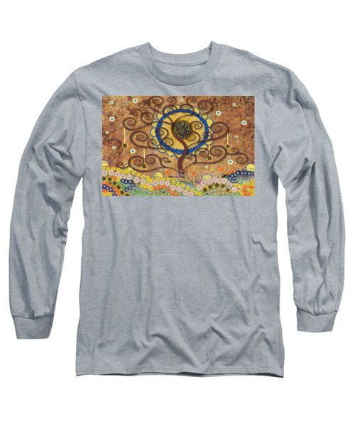 Harvest Swirl Tree Long Sleeve T-Shirt by Kim Prowse