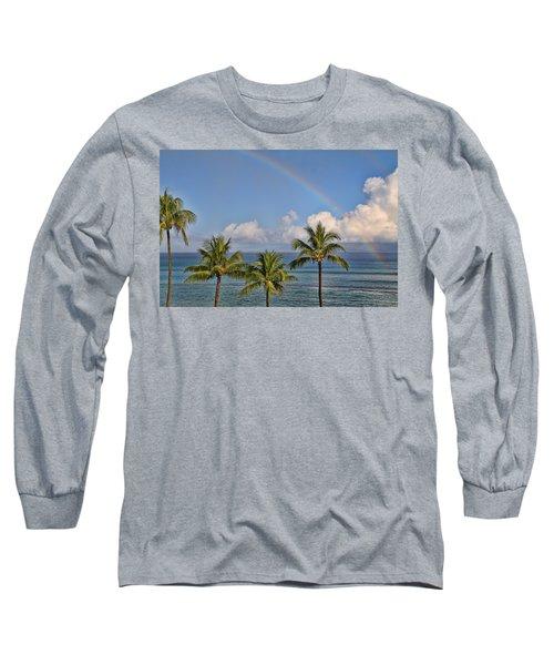 Hawaii Rainbow Long Sleeve T-Shirt by Peggy Collins