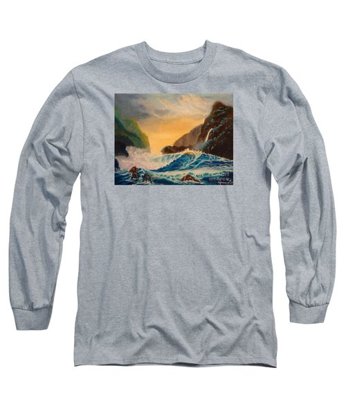 Long Sleeve T-Shirt featuring the painting Hawaiian Turquoise Sunset   Copyright by Jenny Lee
