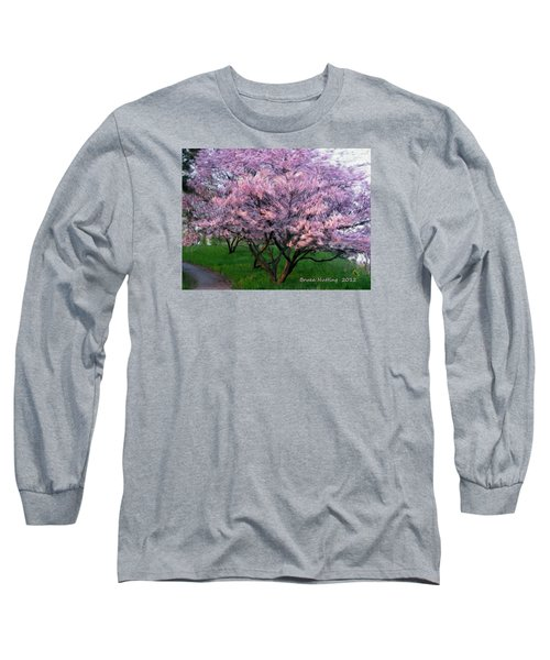 Long Sleeve T-Shirt featuring the painting Heartfelt Cherry Blossoms by Bruce Nutting