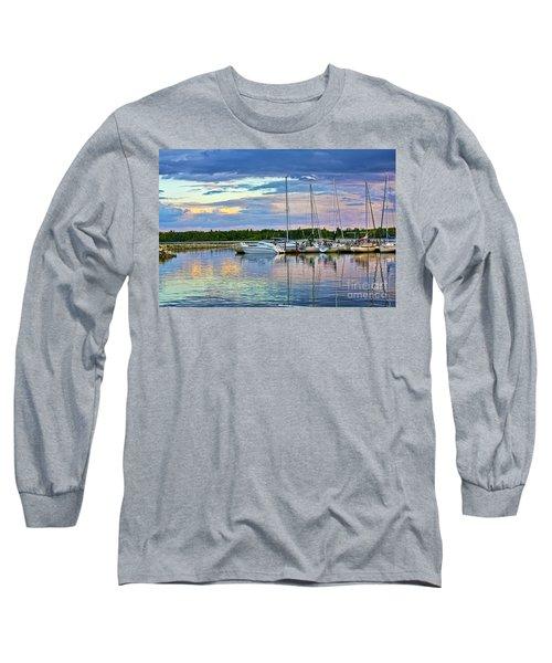 Long Sleeve T-Shirt featuring the photograph Hecla Island Boats II by Teresa Zieba