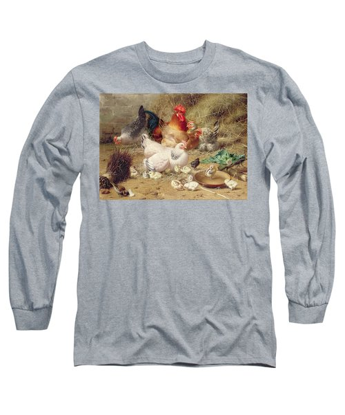 Hens Roosting With Their Chickens Long Sleeve T-Shirt