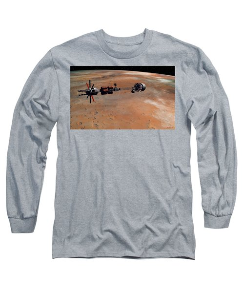 Hermes1 Orbiting Mars Long Sleeve T-Shirt by David Robinson
