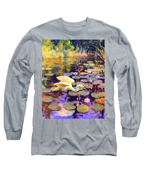 Heron In Lily Pond Long Sleeve T-Shirt