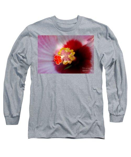 Long Sleeve T-Shirt featuring the photograph Hibiscus Stigma Pads by Susan Wiedmann