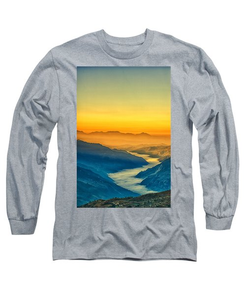 Himalaya In The Morning Light Long Sleeve T-Shirt by Ulrich Schade