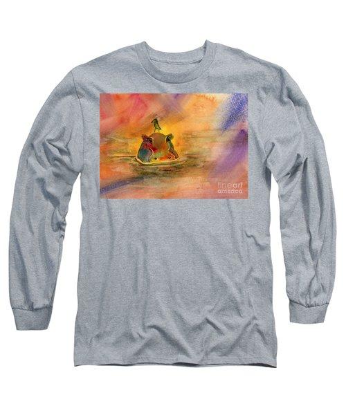 Hippo Birdie Long Sleeve T-Shirt by Amy Kirkpatrick