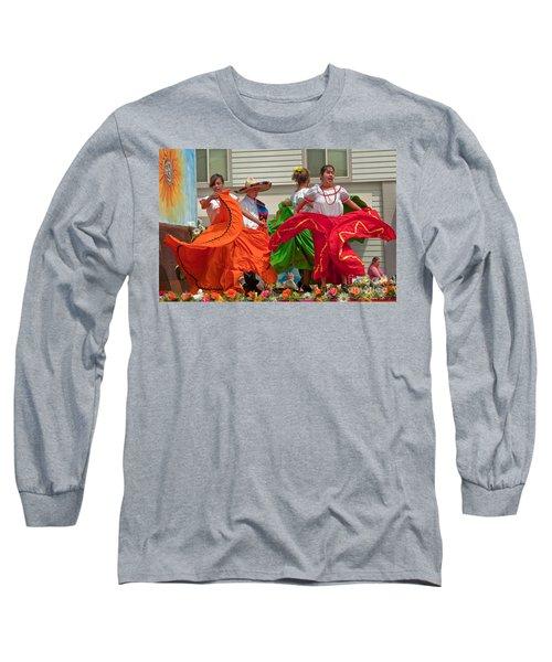 Hispanic Women Dancing In Colorful Skirts Art Prints Long Sleeve T-Shirt by Valerie Garner
