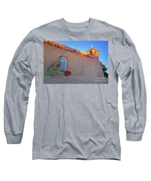 Hollyhocks On Adobe Long Sleeve T-Shirt