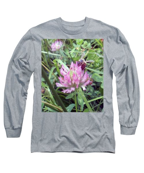 Honeybee Enjoying The Wild Purple Clover Long Sleeve T-Shirt