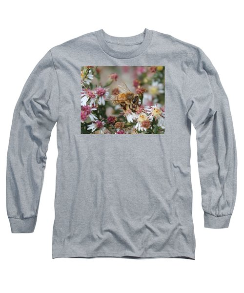 Honeybee Sipping Nectar On Wild Aster Long Sleeve T-Shirt by Lucinda VanVleck