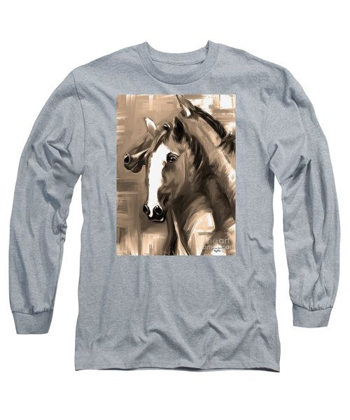 Long Sleeve T-Shirt featuring the painting Horse Together 1 Sepia by Go Van Kampen