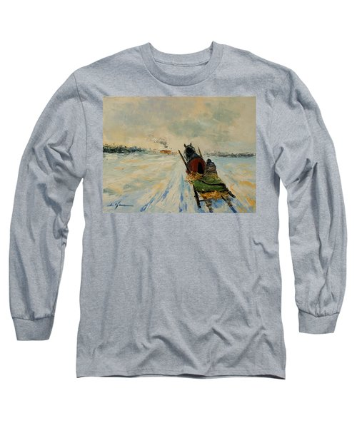 Horse With Sleigh Long Sleeve T-Shirt