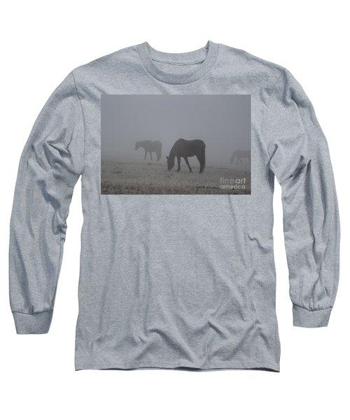 Horses In The Morning Fog Long Sleeve T-Shirt