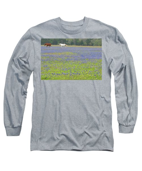 Horses Running In Field Of Bluebonnets Long Sleeve T-Shirt by Connie Fox