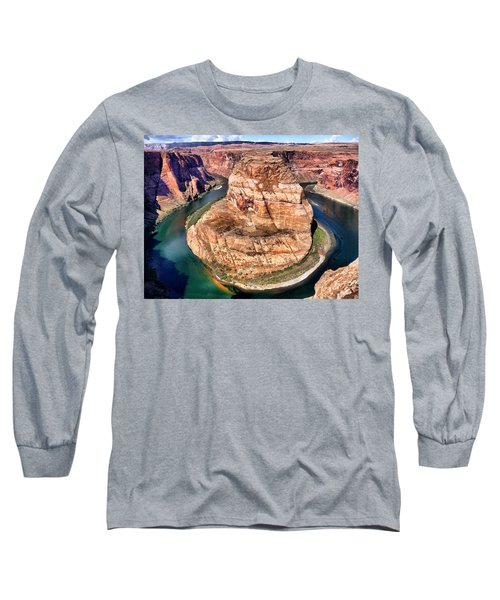 Horseshoe Bend In Arizona Long Sleeve T-Shirt by Mitchell R Grosky