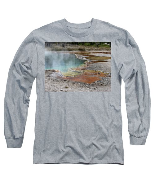 Hot Water At Yellowstone Long Sleeve T-Shirt by Laurel Powell