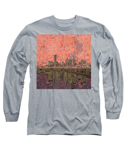 Houston Skyline Abstract 5 Long Sleeve T-Shirt