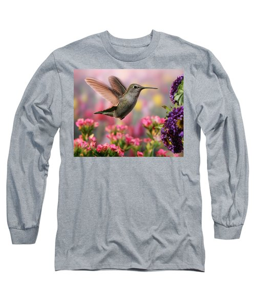 Hummingbird In Colorful Garden Long Sleeve T-Shirt by William Lee