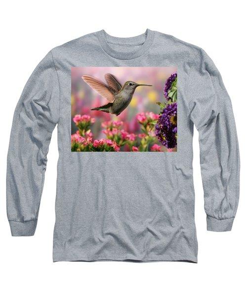 Hummingbird In Colorful Garden Long Sleeve T-Shirt