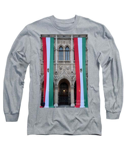 Hungary Flag Hanging At Parliament Budapest Long Sleeve T-Shirt by Imran Ahmed