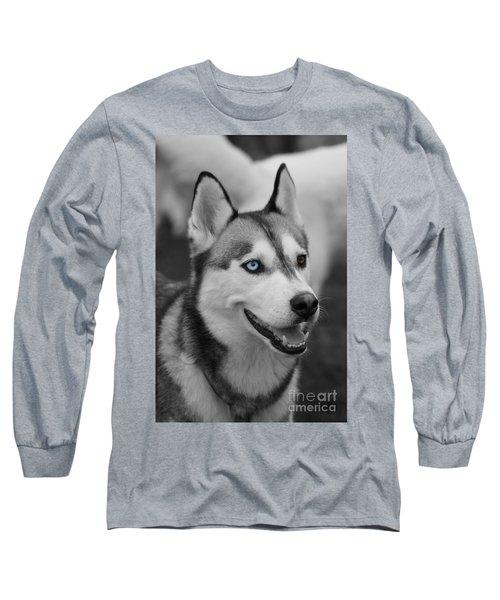 Husky Portrait Long Sleeve T-Shirt by Vicki Spindler