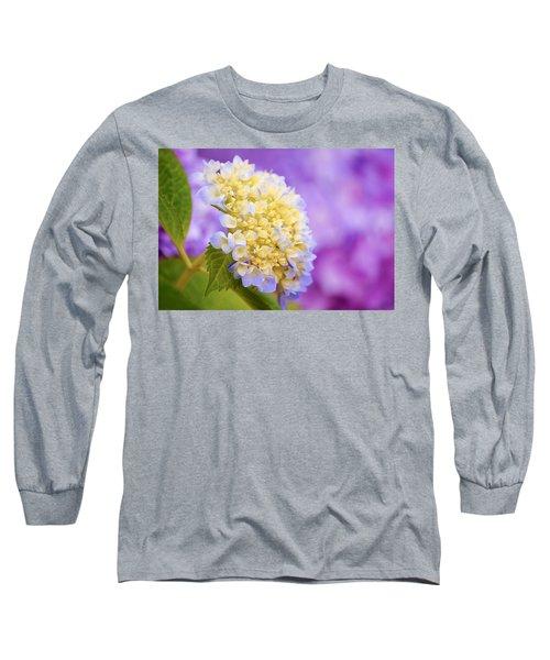 Hydrangea On Purple Long Sleeve T-Shirt