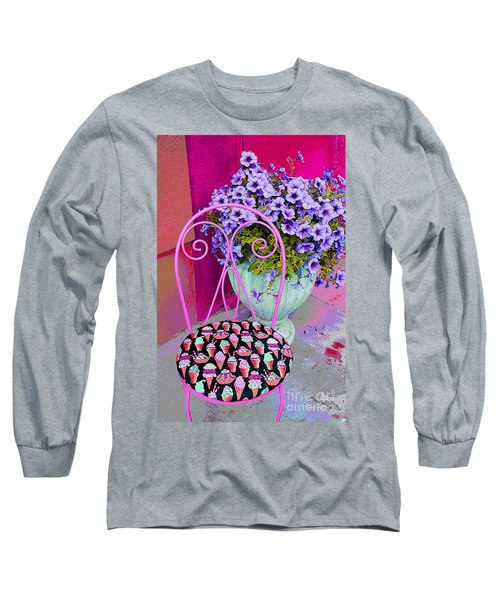 Ice Cream Cafe Chair Long Sleeve T-Shirt by Nina Silver