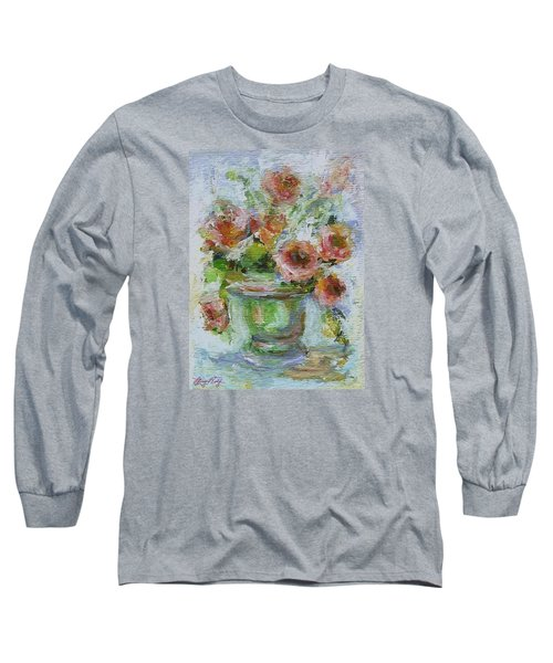 Long Sleeve T-Shirt featuring the painting Impressionist Roses 2 by Mary Wolf