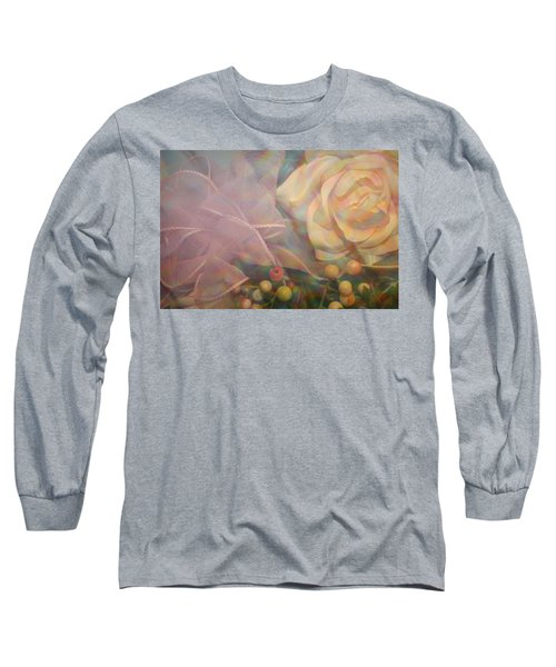 Long Sleeve T-Shirt featuring the photograph Impressionistic Pink Rose With Ribbon by Dora Sofia Caputo Photographic Art and Design