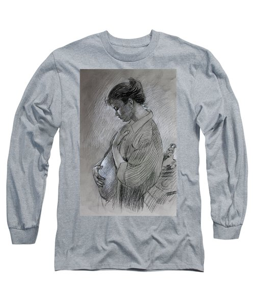 Long Sleeve T-Shirt featuring the drawing In The Family Way by Viola El