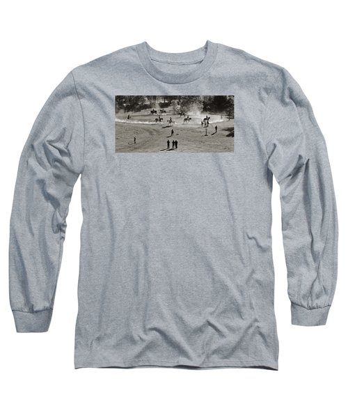 Long Sleeve T-Shirt featuring the photograph In The Warm Up by Joan Davis
